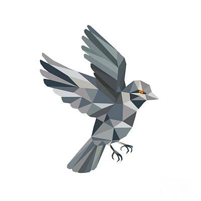 Sparrow Digital Art - Old World Sparrow Low Polygon by Aloysius Patrimonio