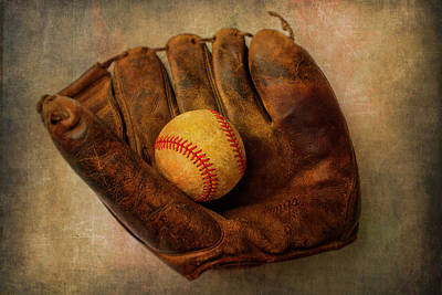 Baseball Art Photograph - Old Worn Ball And Mitt by Garry Gay