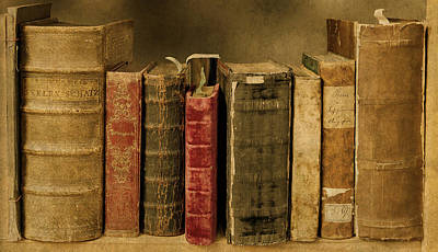 Old Worn Books On Shelf Art Print by Design Turnpike