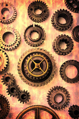 Metal Things Photograph - Old Worn Gears  by Garry Gay