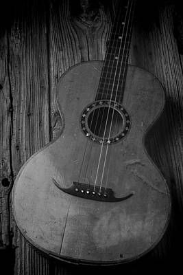 Autistic Photograph - Old Worn Guitar Black And White by Garry Gay