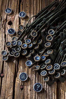 Antique Typewriter Photograph - Old Worn Typewriter Keys by Garry Gay