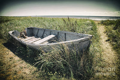 Photograph - Old Wrecked Boat On Grassy Coastline In Cape Bretton Nova Scotia by Nick Jene