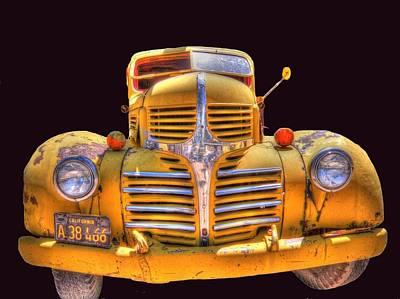 Old Yellow Dodge Art Print by Peter Schumacher