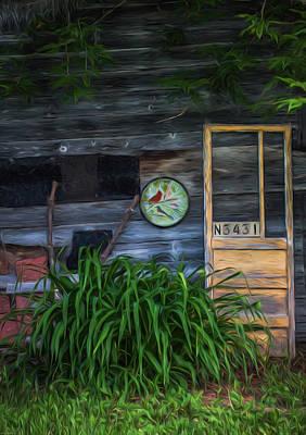 Photograph - Old Yellow Door-textured by Kathleen Scanlan