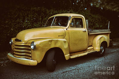 Pickup Truck Door Photograph - Old Yellow Pickup by Mark Miller
