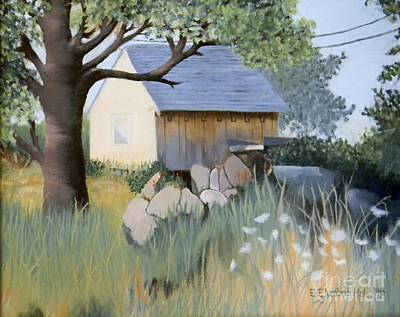 Old Yellow Shed Art Print by Emily Michaud