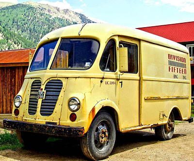 Frank Sinatra Rights Managed Images - Old Yellow Van Truck Royalty-Free Image by Amy McDaniel