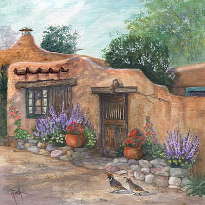 Red Geranium Painting - Old Adobe Cottage by Marilyn Smith