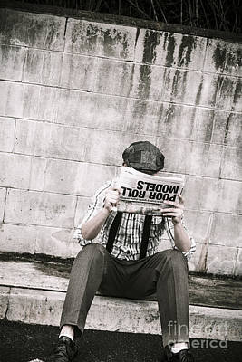 Olden Day Man Reading Newspaper Tabloid Art Print