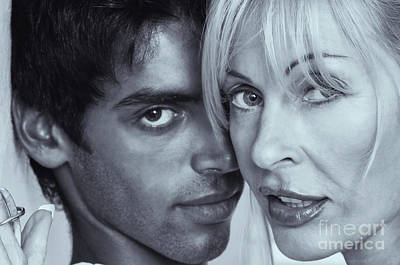 Photograph - Older Caucasian Woman Making Out With Younger Man by Amyn Nasser