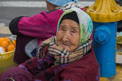 Photograph - Elderly Street Vendor, Dongmun Public Market, Jeju Korea by Judith Barath