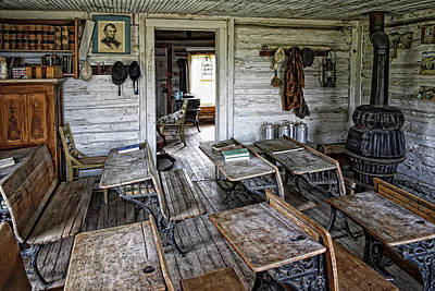 Oldest School House C. 1863 - Montana Territory Art Print by Daniel Hagerman
