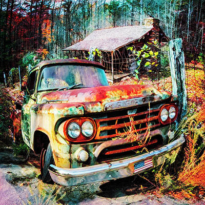 Photograph - Oldie But Goodie 1959 Dodge Pickup Truck Colorful Painting by Debra and Dave Vanderlaan