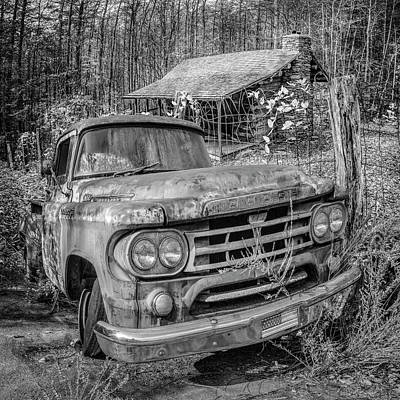 Photograph - Oldie But Goodie 1959 Dodge Pickup Truck In Black And White by Debra and Dave Vanderlaan