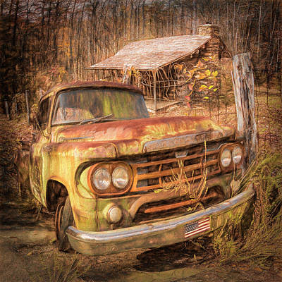 Photograph - Oldie But Goodie 1959 Dodge Pickup Truck Textured Painting by Debra and Dave Vanderlaan