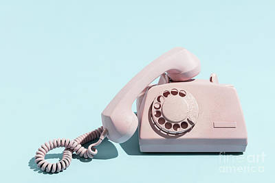 Photograph - Oldschool Pink Telephone On A Blue Background by Michal Bednarek