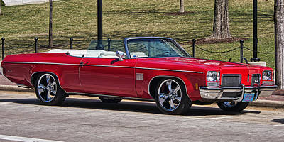 Photograph - Oldsmobile Delta Royale 88 Red Convertible by Steven Ralser