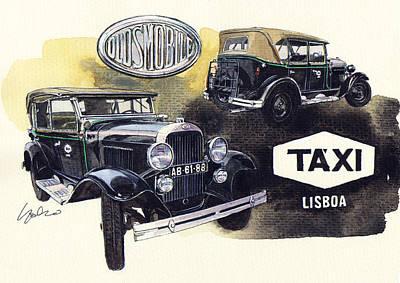 1928 Painting - Oldsmobile F28 The Oldest Lisbon Taxi by Yoshiharu Miyakawa