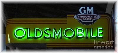 Photograph - Oldsmobile Nostalgia In Neon by Barbie Corbett-Newmin