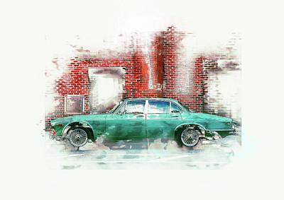 Petrol Green Digital Art - Oldtimer Car, Vintage, Retro, Grunge by Gabriele Huller