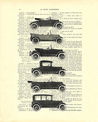 Collection Oldtimers In Black And White Vintage Illustration Art Print by Madame Memento