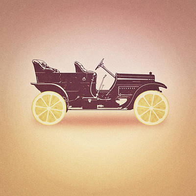 Lemon Digital Art - Oldtimer Historic Car With Lemon Wheels by Philipp Rietz