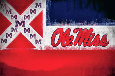 Digital Art - Ole Miss Mississippi State Flag by JC Findley