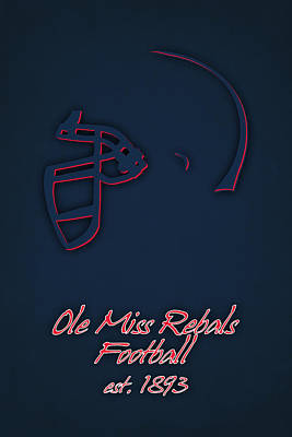 Ole Miss Rebels Helmet 2 Art Print by Joe Hamilton