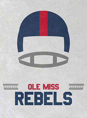 Harvard Mixed Media - Ole Miss Rebels Vintage Football Art by Joe Hamilton