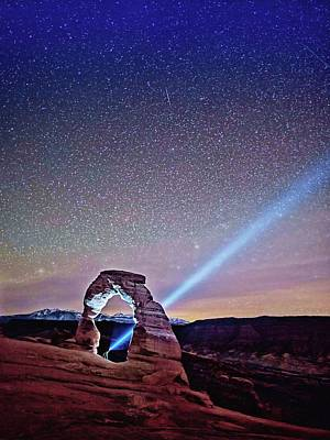 Art Print featuring the digital art Olena Art Starry Night Pointer At Delicate Arch Moab National Park by OLena Art Brand