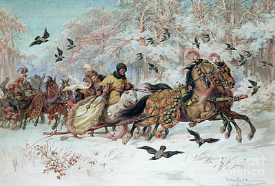 Sleigh Ride Painting - Olenka And Kmicic In A Sleigh, 1885 by Juliusz Fortunat Kossak