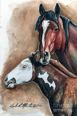 Mustang A Day Challenge Painting - Olga And Pj by Linda L Martin