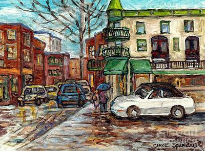 Painting - Olimpico Cafe Rainy Street Umbrella Day Canadian Urban Landscape Painting C Spandau Quebec Artist    by Carole Spandau