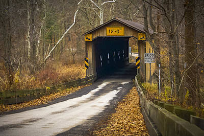 Music Royalty-Free and Rights-Managed Images - Olins Rd Covered Bridge  by Jack R Perry