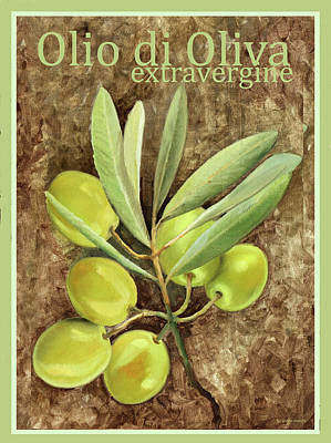 Olives Wall Art - Painting - Olio Extravergine Di Oliva by Guido Borelli
