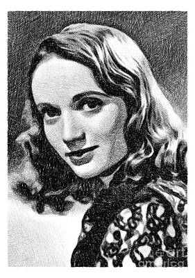 Musicians Drawings Rights Managed Images - Olive Deering, Vintage Actress by JS Royalty-Free Image by Esoterica Art Agency