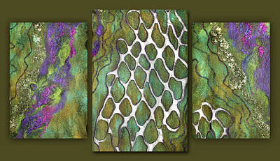 Mixed Media - Olive Garden And Lavender Fields. Triptych by Marina Shkolnik