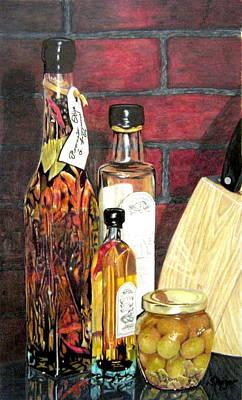 Glass Bottle Drawing - Olive Oil Bottles by Susan Moyer
