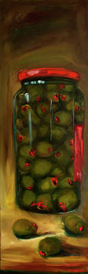 Painting - Olive Party by Diane Whitehead
