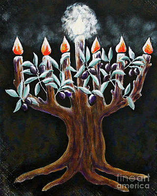 Olive Tree Menorah Art Print by Cheryl Rose