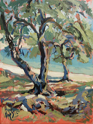 Painting - Olive Trees Along Marmari Beach Paxos by Nop Briex