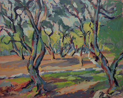 Painting - Olive Yard Paxos Greece by Nop Briex