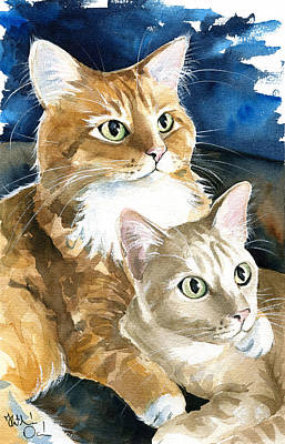 Painting - Oliver And Roxy - Ginger Cat Painting by Dora Hathazi Mendes