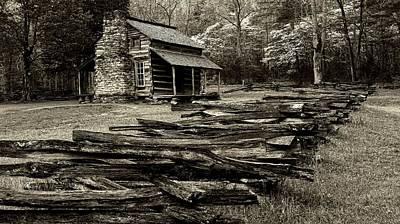 Log Cabins Photograph - Oliver Cabin Among The Dogwood Of The Great Smoky Mountains National Park II In Sepia by Carol R Montoya
