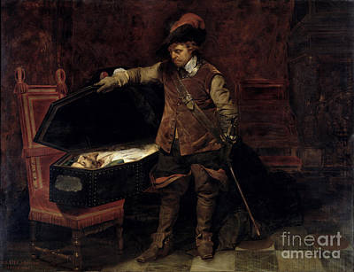 Civil Painting - Oliver Cromwell Opening The Coffin Of Charles I  by Hippolyte Delaroche