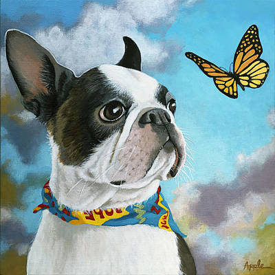 Painting - Oliver - Dog Pet Portrait by Linda Apple
