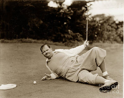 Photograph - Oliver Hardy At Pebble Beach 1934 by California Views Mr Pat Hathaway Archives