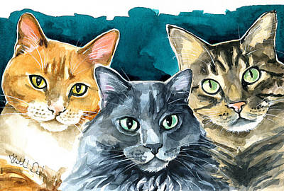 Oliver, Willow And Walter - Cat Painting Original
