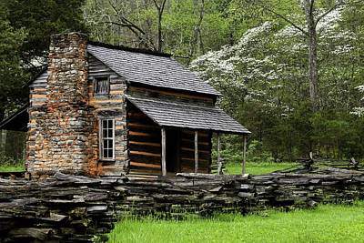 Log Cabins Photograph - Oliver's Cabin Among The Dogwood Of The Great Smoky Mountains National Park II by Carol R Montoya